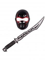 Zwart en rood ninja set voor kinderen
