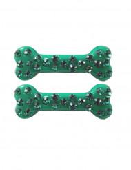 2 groene bot haarspelden met strass