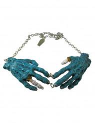 Blauwe zombie handen gothic ketting