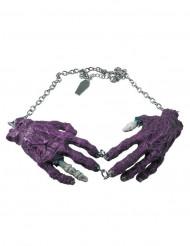 Paarse gothic zombie handen halsketting