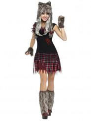Halloween weerwolf schoolmeisje kostuum voor dames