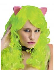 Neongroene fantasy pruik met kattenoren