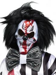 Zwart en wit horror clown masker met pruik