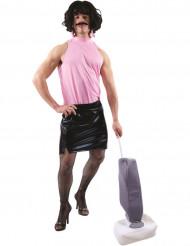 Roze en zwart huisvrouw kostuum voor volwassenen