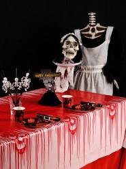 Bloederig tafelkleed met doodskop