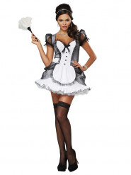 Sexy schoonmaakster outfit in het zwart en wit voor vrouwen