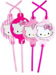 8 roze katten rietjes