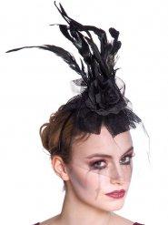 Zwarte haarband met veren en roos