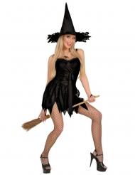 Sexy zwarte heksenoutfit voor vrouwen