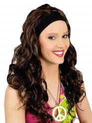 Lange bruine pruik met hoofdband voor vrouwen