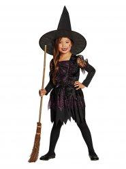 Zwart en paars klassiek heksenkostuum voor kinderen