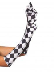 Halflange schaakbord handschoenen voor vrouwen