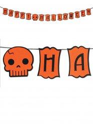 Oranje doodskop Happy Halloween slinger