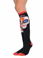 Hoge Dia de los Muertos sokken voor volwassenen