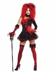 Rood en zwart harlekijn kostuum voor vrouwen