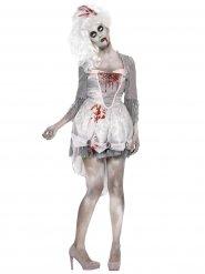 Grijs en wit barok zombie kostuum voor vrouwen