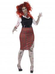 Bebloed zombie schooluniform kostuum voor vrouwen