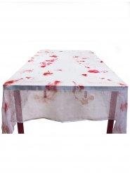 Wit bloederig tafelkleed van stof 150 x 180 cm