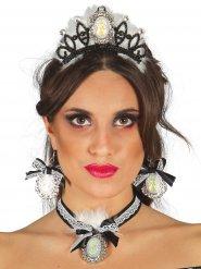 Zwarte en witte prinses juwelen en tiara