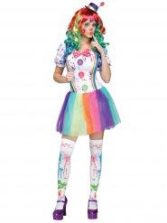 Pastel regenboog clown kostuum voor dames