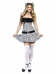 Sexy gestipt zwart en wit dalmatiër kostuum voor vrouwen
