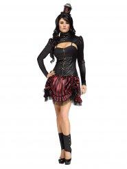 Rood en zwart steampunk kostuum voor vrouwen