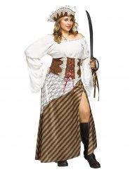 Wit en bruin gestreepte piratenoutfit voor vrouwen - Plus Size
