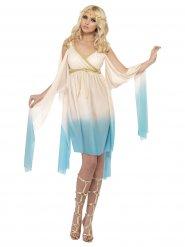 Crème en lichtblauw Grieks kostuum voor vrouwen