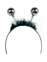 Zwarte en zilverkleurige haarband met discoballen