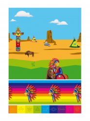 Plastic gekleurd indiaans tafelkleed