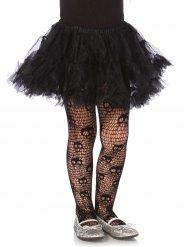 Zwarte doodskop netstof panty voor meisjes