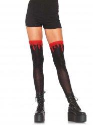 Zwarte kousen met bloedvlekken voor vrouwen