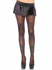 Zwarte doodskop panty voor vrouwen