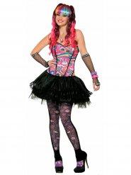 Veelkleurig flashy popster kostuum voor vrouwen