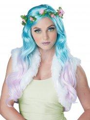 Turquoise fee pruik met bloemen