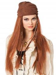 Lange roodbruine piraten pruik met bandana voor vrouwen