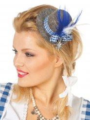 Beierse mini hoed met blauwe en grijze veren voor vrouwen