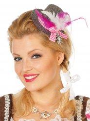 Grijze en roze Beierse mini hoed voor vrouwen