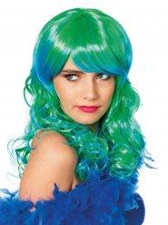 Lange groene en blauwe zeemeermin pruik voor vrouwen