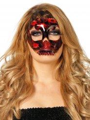 Zwart en rood skelet kant masker voor vrouwen