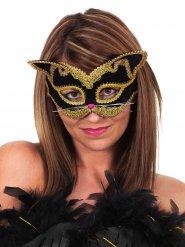 Zwart en goudkleurig katten masker voor volwassenen