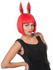 Rode konijnenoren pruik voor vrouwen