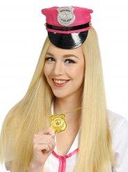 Roze politie pet met badge voor volwassenen
