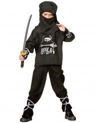 Zwart ninja kostuum met ninja opdruk voor kinderen