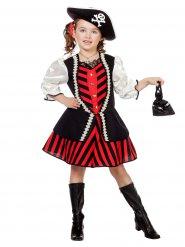 Rood en zwart gestreept piratenkostuum voor meisjes