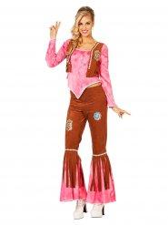 Roze en bruin hippie kostuum voor vrouwen