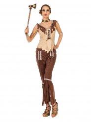Suèdeachtig bruin en beige indianen kostuum voor vrouwen