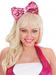 Haarband met roze strik en lovertjes voor volwassenen