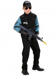 Zwart en blauw SWAT kostuum voor jongens