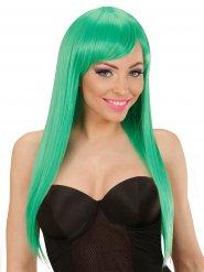 Groene pruik met lange haren en pony voor vrouwen